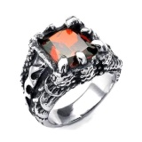 Spek Men S Jewelry Claw Dragon Ring Titanium Steel Cincin Pria Batu Merah Men S Jewelry