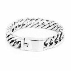 Review Terbaik Men S Jewelry Executive Bracelet Titanium Steel Gelang Pria Silver