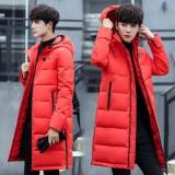 Pria Korea Slim Panjang Mantel Musim Dingin Tebal Hooded Down Jaket Mantel Internasional Asli