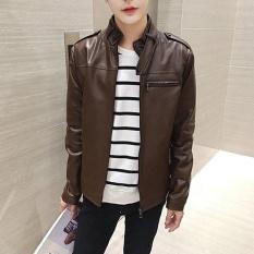 Pria A Korea Stand Kulit Biasa Jaket Outdoor Jaket Kopi-Intl
