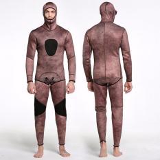Pria Menebal Lengan Panjang Bertudung Menyelam Setelan 3 Mm Karet Kamuflase Ubur-ubur Set Satu Kepingan Baju Renang Berselancar Pancing Perlengkapan snorkeling