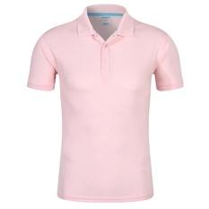 Men'S Baru Setengah Lapel Lengan Murni Warna Seragam POLO Shirt (Pink 2 #)-Intl