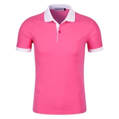 Men'S Baru Setengah Lapel Lengan Murni Warna Seragam POLO Shirt (Pink8 #)-Intl