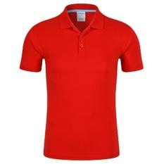 Pria Baru Setengah Lapel Lengan Murni Warna Seragam Polo Shirt (merah 12 #)-Intl