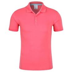 Men'S New Half Sleeve Lapel Pure Color Uniform POLO Shirt (Red 4#) - intl