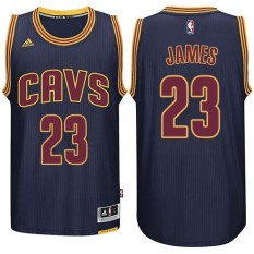Pria Resmi Cavaliers NBA LeBron James #23 New Swingman Basket Jersey Navy-Intl