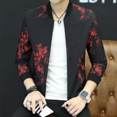Pria Pesta Atletik Biasa Mantel Standare Outdoor Jaket dengan Floral Merah-Intl