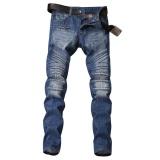 Harga Pria Berlipat Moto Biker Jeans Tertekan Tipis Designer Jean Vintage Untuk Pria Runway Slim Denim Panjang Celana Punk Rock Intl Asli