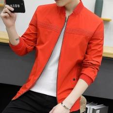 Men's Preppy Style Atletik Biasa Jaket Standare Outdoor Mantel dengan Solid Orange-Intl