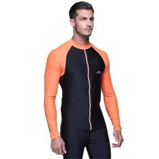 Pria UV Perlindungan Lengan Panjang Surfing Beach Swimwear Rash Guard Shirt Tops-Intl