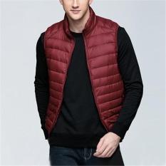Rompi Pria UNIQLO'S 90% Bebek Putih Rompi Ringan Mantel Jaket Tanpa Lengan Merah-Intl