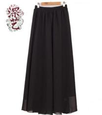 Mendalam Arts retro warna solid gaun rok besar baru rok (Sifon hitam) (Sifon hitam)