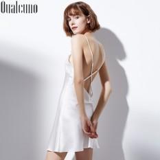 Menggoda Musim Panas Berat Sutra Baju Rumah Seksi Sutra Murni Gaun Tidur (Putih)
