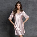 Beli Menggoda Slim V Neck Musim Panas Seksi Gaun Tidur Sutra Murni Gaun Tidur Merah Muda Warna Murah Di Tiongkok