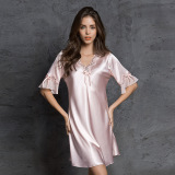 Harga Menggoda Slim V Neck Musim Panas Seksi Gaun Tidur Sutra Murni Gaun Tidur Merah Muda Warna Oem Baru