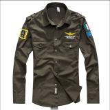 Cara Beli Men S 100 Fit Ramping Katun Angkatan Udara Llong Sleeve Shirt Hijau Tentara Intl