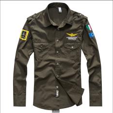 Jual Men S 100 Fit Ramping Katun Angkatan Udara Llong Sleeve Shirt Hijau Tentara Intl Import
