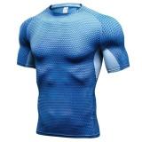 Promo Pria 3D Print Fitness Latihan Olahraga Ketat T Shirt Elastis Biru Intl Oem