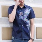 Review Toko Pria Art Pendek Lengan Luar Ruangan Kasual Kemeja Kancing Biru Intl