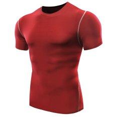 Review Pria Athletic Kompresi Di Bawah Lapisan Dasar Sport Shirt Merah Intl Terbaru