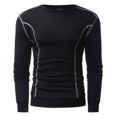 Mens Autumn Winter Casual Long Sleeve Crew Neck Tops Sweater Coat Jacket (Black) - intl