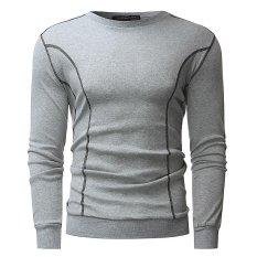 Mens Musim Gugur Musim Dingin Kasual Lengan Panjang LEHER Bundar Atasan Jaket Mantel (Grey)