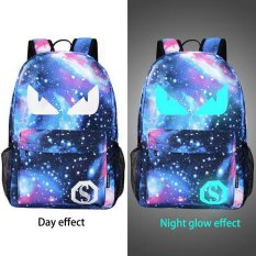 Jual Pria Backpack Anime Starry Sky Luminous Printing Kasual Remaja Mochila Blue Devil Intl Murah Tiongkok