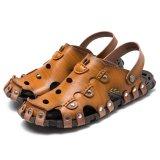 Beli Pria Baotou Sandal Sandal Bernapas Pengeboran Lubang Sepatu Sepatu Kulit Lembut Kuning Intl Nyicil