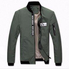 Toko Laki Laki Bomber Jaket Slim Kasual Bisbol Mantel Zipper Tahan Dr Green Intl Termurah