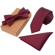 Perbandingan Harga Men S Bow Tie Set Business Tie Dengan Pocket Square Gift Box Burgundy Intl Oem Di Tiongkok