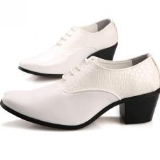 Ulasan British Fashion Pria Sepatu Bertumit Tinggi Sepatu Formal