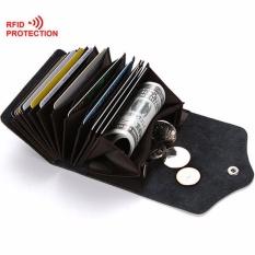Pria Pemegang Kartu Dompet Kulit Unisex Dompet untuk Pria Wanita Pemegang Kartu Kredit Casing Kasual Perjalanan Dompet dengan Coin Pocket-Kopi-Intl