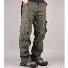 Miliki Segera Pria Cargo Pants Kasual Mens Pant Multi Pocket Militer Keseluruhan Pria Berkualitas Tinggi Panjang Celana Hijau Tentara Intl