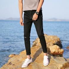 Beli Pria Kasual Bisnis Lurus Slim Jeans Denim Celana Hitam Intl Online Terpercaya