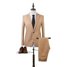 Pria Kasual Bisnis Setelan Dua Set Satu Tombol Ramping Sesuai Jaket Tuksedo Mantel-Internasional