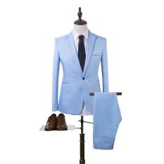 Harga Termurah Mens Kasual Bisnis Suit Dua Set Satu Tombol Slim Fit Jaket Tuksedo Mantel Intl