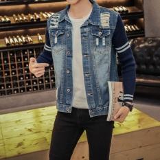 Jaket Pria Jaket Denim Jeans Kasual Biasa With Merobek Diskon Akhir Tahun
