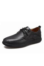 Promo Mens Casual Oxford Kulit Asli Sepatu Hitam