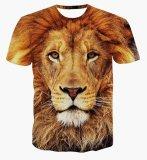 Pria Kasual Lengan Bang Pendek T Shirt 3D Digital Printing Lions Di Tiongkok