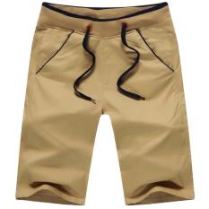 Pria Kasual Celana Pendek Slim Warna Murni Olahraga Shorts Mens Kargo Boardshorts Cotton Bermudas (Khaki)-Intl