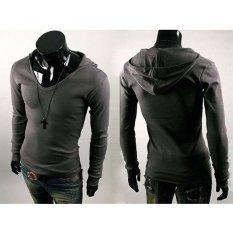 Promo Pria Langsing Kasual Cocok Oblong V Leher Berkerudung T Shirt Katun Campuran Ldark Puncak Vakind Terbaru