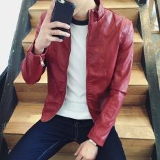 Men's Casual Stand Atletik Biasa Jaket Jaket Kulit Merah-Internasional