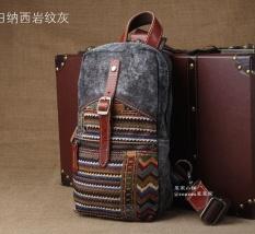 Men's Chest Pack Baru Canvas Bag Satchel Retro Rakyat Korea Gaya Bordir Pariwisata Kecil Ransel-Intl