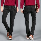 Harga Pria Classic Gaya Corduroy Casual Striped Jeans Elastis Celana Celana Hitam Merk Oem