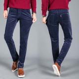 Harga Pria Classic Gaya Corduroy Casual Striped Jeans Elastis Celana Celana Navy Biru Online