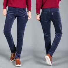 Spesifikasi Pria Classic Gaya Corduroy Casual Striped Jeans Elastis Celana Celana Navy Biru Merk Oem