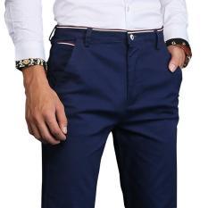 Harga Jimzivi Pria Warna Murni Klasik Bisnis Kasual Elastis Celana Lurus Celana Biru Intl Termurah
