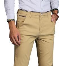 Penawaran Istimewa Jimzivi Pria Warna Murni Klasik Bisnis Kasual Elastis Celana Lurus Celana Khaki Intl Terbaru