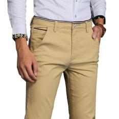 Kualitas Jimzivi Pria Warna Murni Klasik Bisnis Kasual Elastis Celana Lurus Celana Khaki Intl Jimzivi