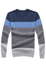 Iklan Pria Lengan Bergaris Garis Tipis Warna Blok Sesuai With Sweater On Pulover Biru Abu Abu